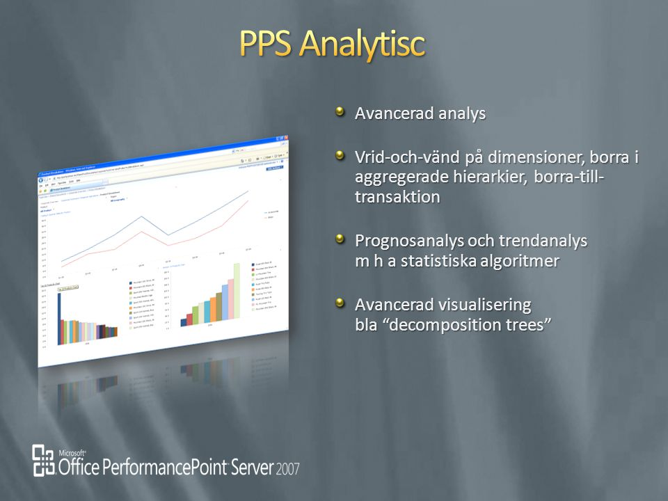 Avancerad analys Vrid-och-vänd på dimensioner, borra i aggregerade hierarkier, borra-till- transaktion Prognosanalys och trendanalys m h a statistiska