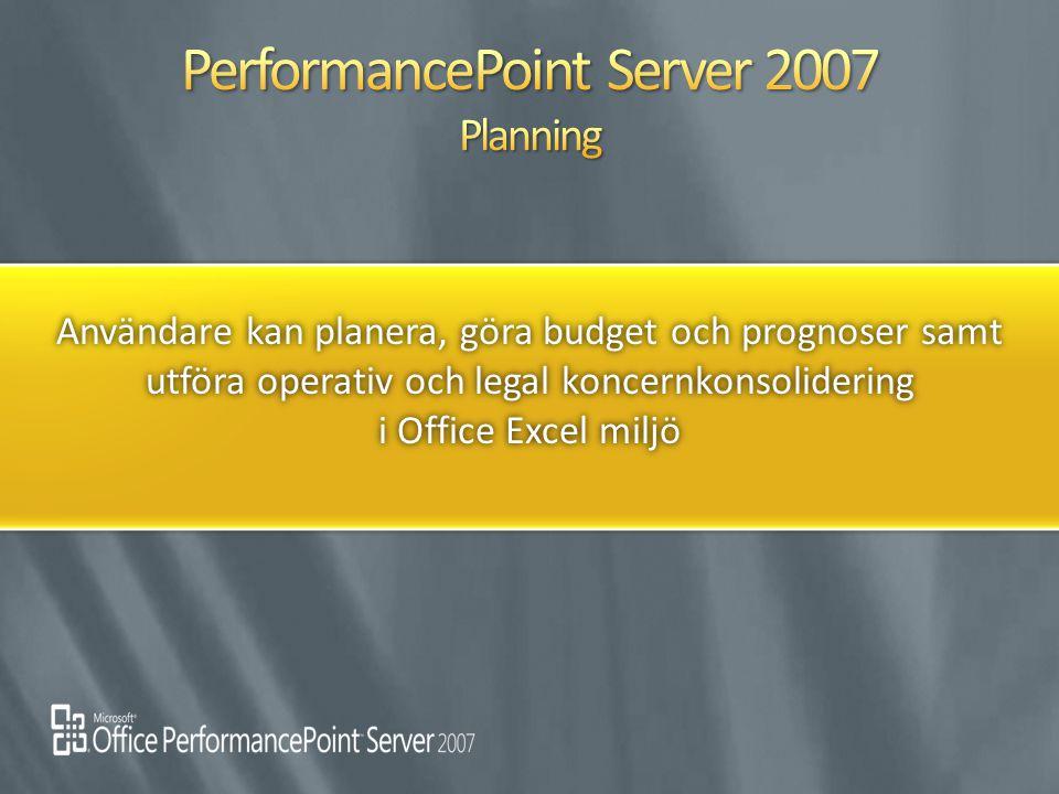 Användare kan planera, göra budget och prognoser samt utföra operativ och legal koncernkonsolidering i Office Excel miljö