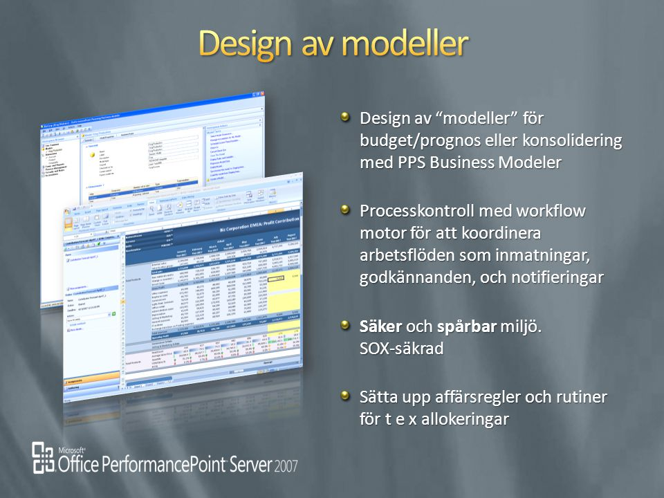 "Design av ""modeller"" för budget/prognos eller konsolidering med PPS Business Modeler Design av ""modeller"" för budget/prognos eller konsolidering med P"