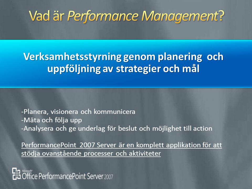 -Planera, visionera och kommunicera -Mäta och följa upp -Analysera och ge underlag för beslut och möjlighet till action PerformancePoint 2007 Server ä
