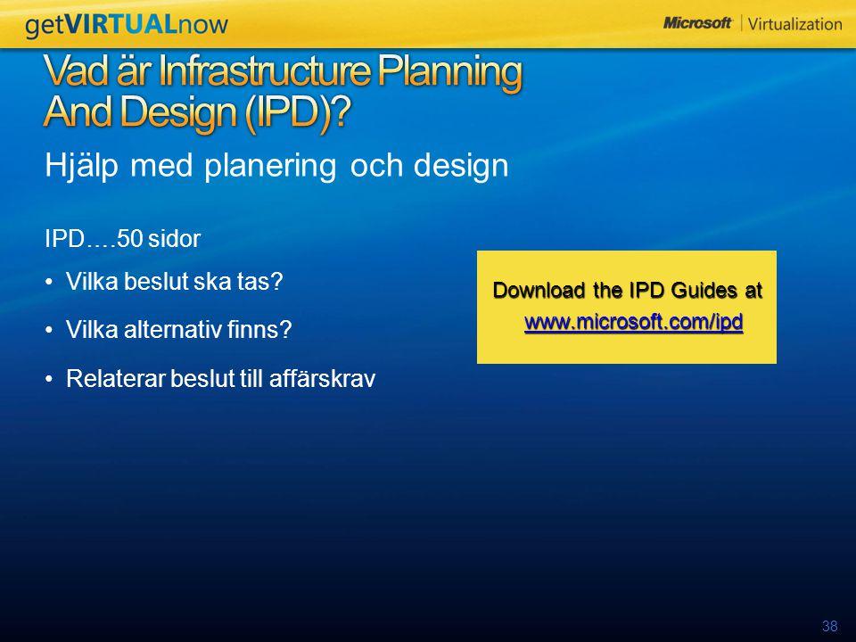 38 Hjälp med planering och design IPD….50 sidor Vilka beslut ska tas.