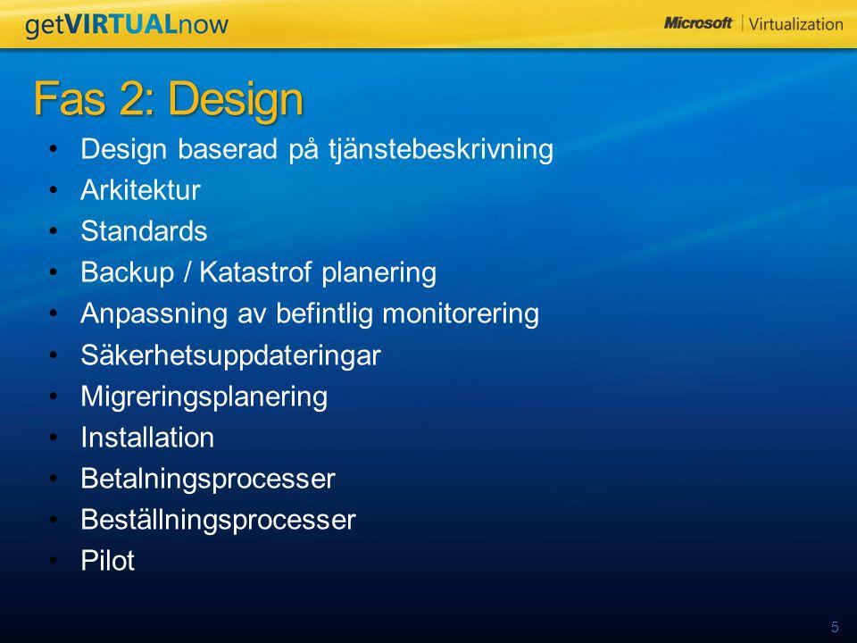 5 Design baserad på tjänstebeskrivning Arkitektur Standards Backup / Katastrof planering Anpassning av befintlig monitorering Säkerhetsuppdateringar Migreringsplanering Installation Betalningsprocesser Beställningsprocesser Pilot Fas 2: Design