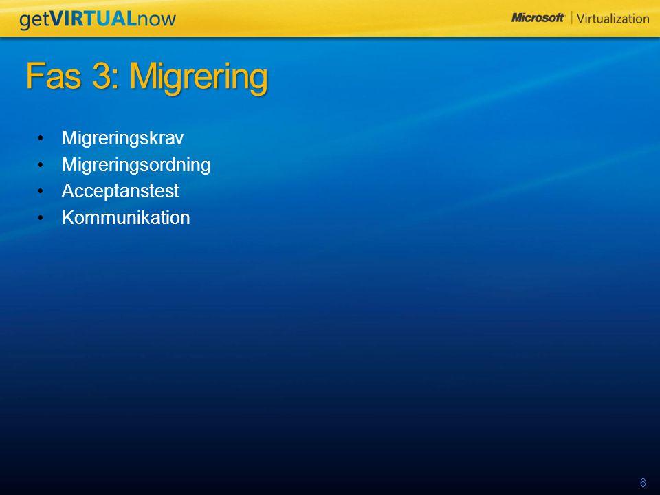 6 Migreringskrav Migreringsordning Acceptanstest Kommunikation Fas 3: Migrering