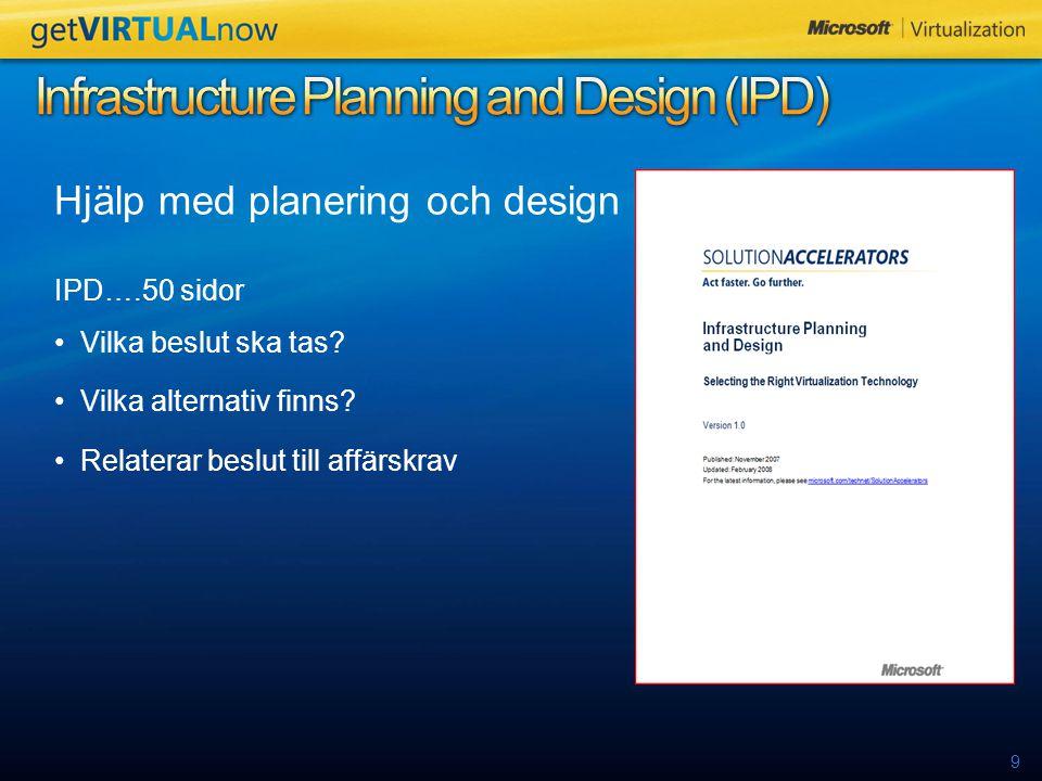 9 Hjälp med planering och design IPD….50 sidor Vilka beslut ska tas.