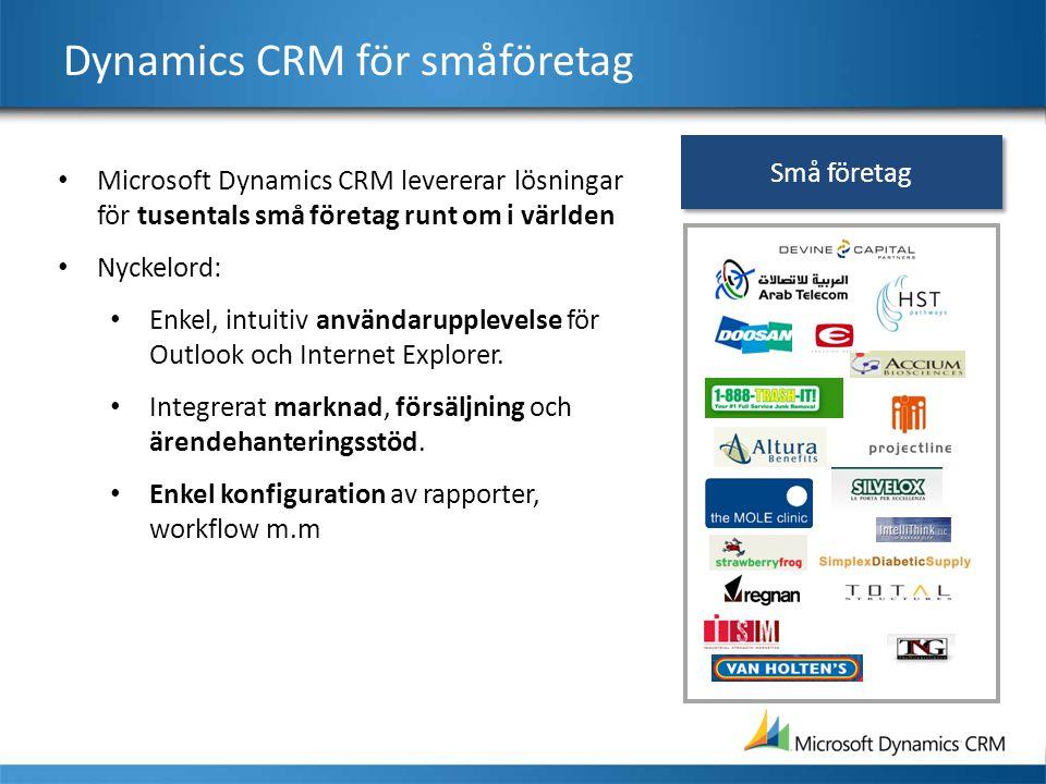 Dynamics CRM för småföretag Microsoft Dynamics CRM levererar lösningar för tusentals små företag runt om i världen Nyckelord: Enkel, intuitiv användar