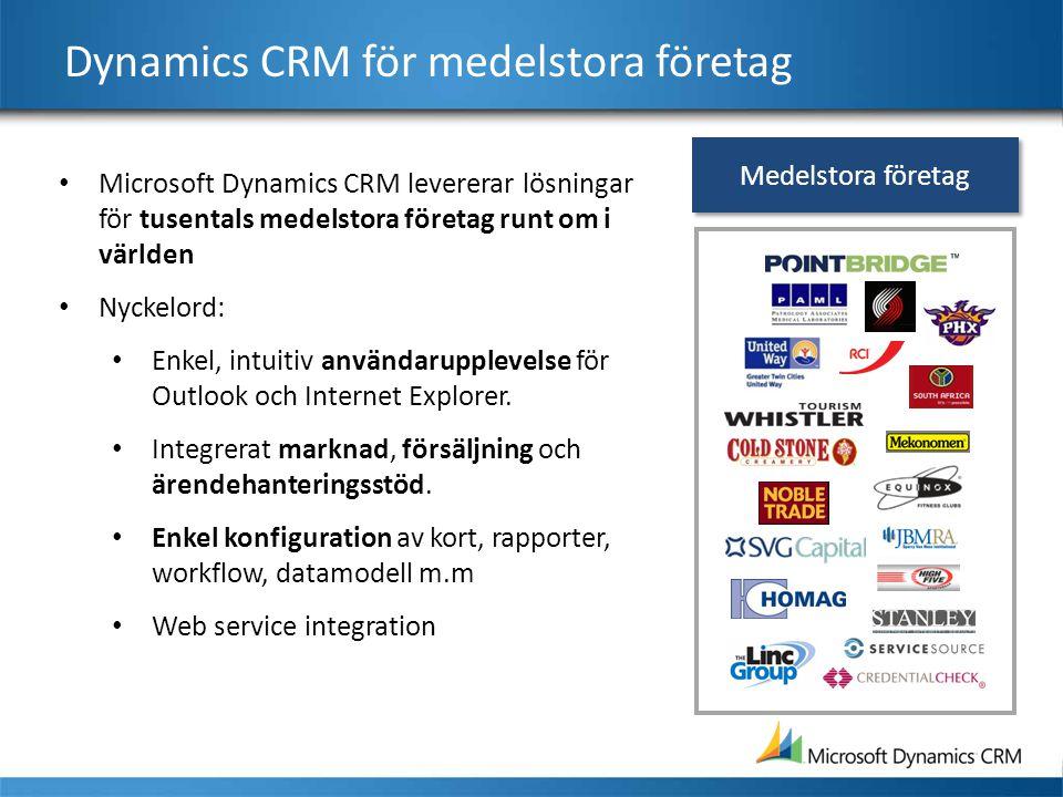 Dynamics CRM för medelstora företag Microsoft Dynamics CRM levererar lösningar för tusentals medelstora företag runt om i världen Nyckelord: Enkel, in