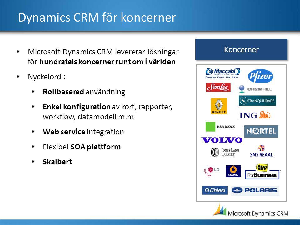 Dynamics CRM för koncerner Microsoft Dynamics CRM levererar lösningar för hundratals koncerner runt om i världen Nyckelord : Rollbaserad användning En