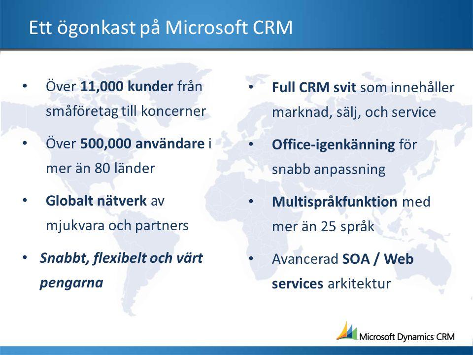 Ett ögonkast på Microsoft CRM Över 11,000 kunder från småföretag till koncerner Över 500,000 användare i mer än 80 länder Globalt nätverk av mjukvara