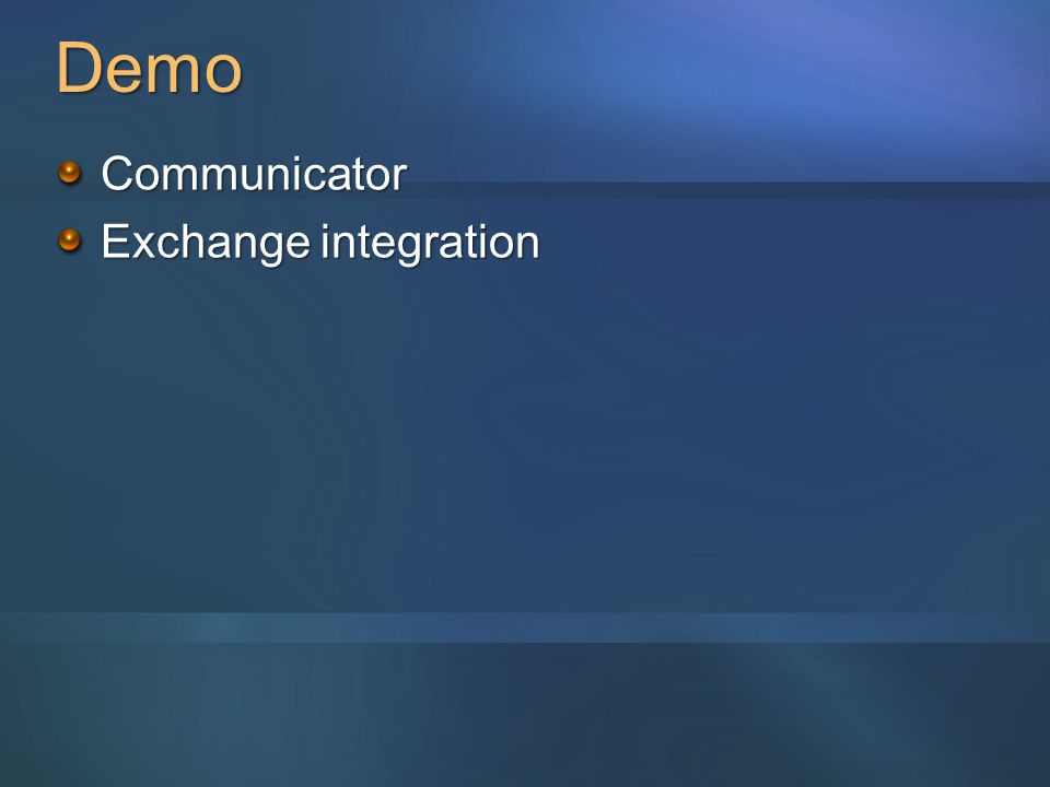 Demo Communicator Exchange integration