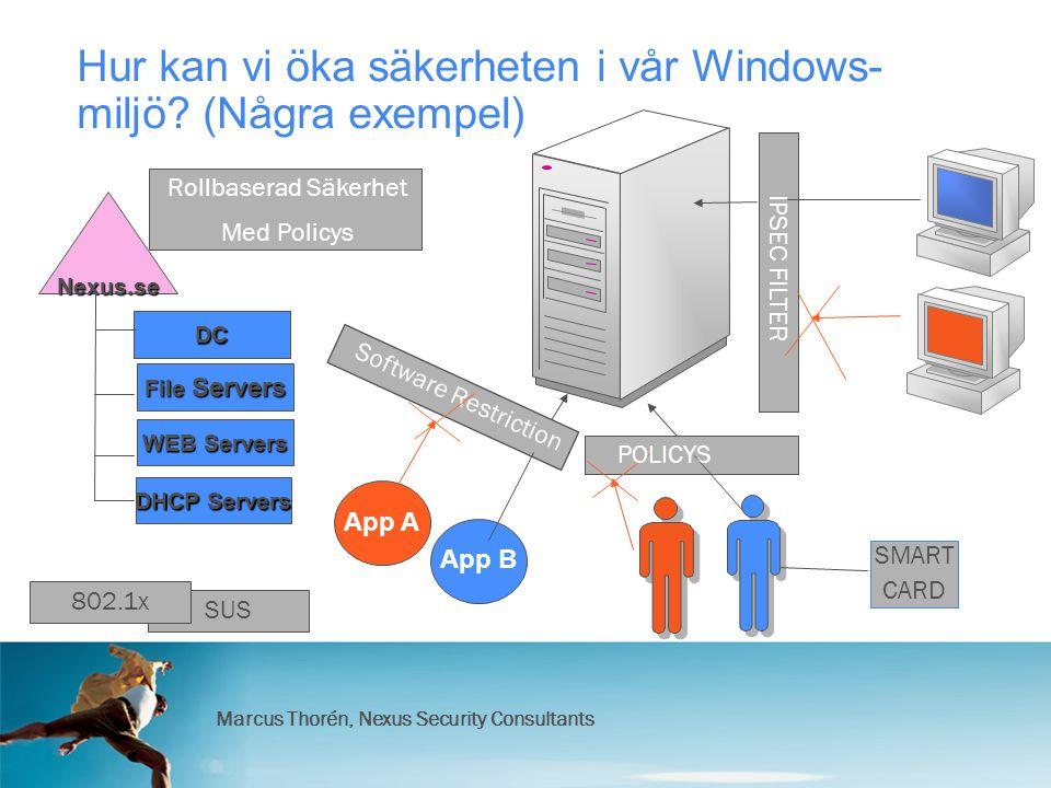 Marcus Thorén, Nexus Security Consultants SUS Nexus.se DC Hur kan vi öka säkerheten i vår Windows- miljö.
