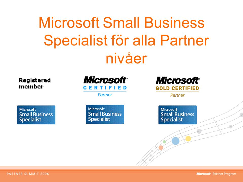 Microsoft Small Business Specialist för alla Partner nivåer Registered member