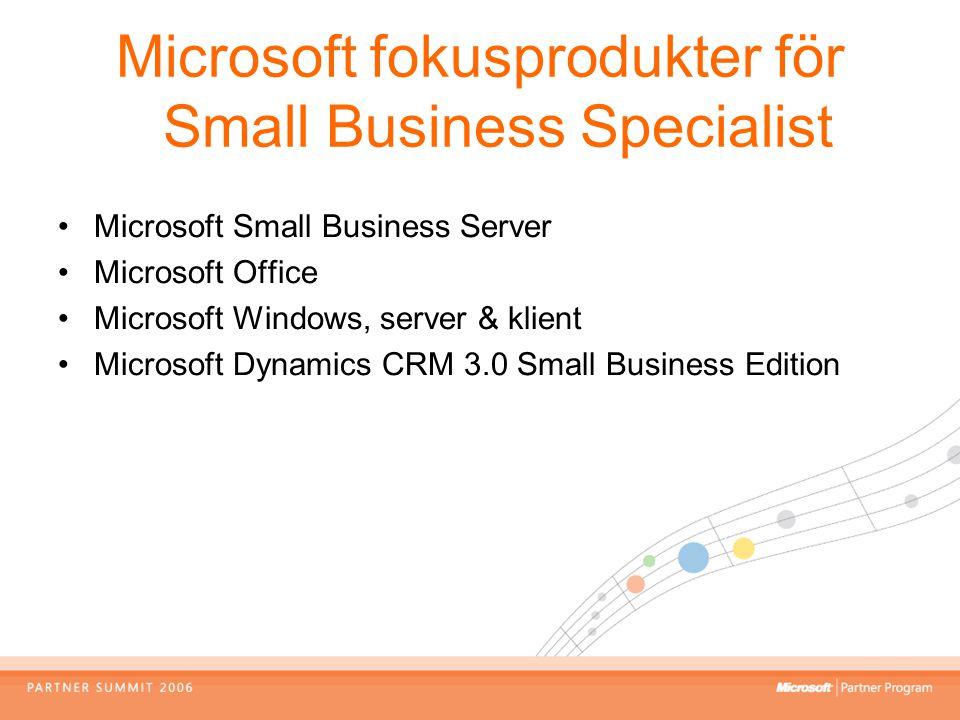 Microsoft fokusprodukter för Small Business Specialist Microsoft Small Business Server Microsoft Office Microsoft Windows, server & klient Microsoft D