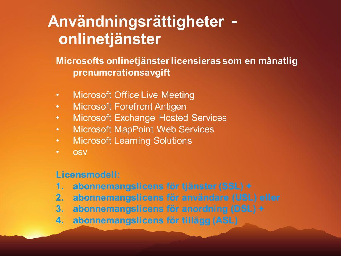 Användningsrättigheter - onlinetjänster Microsofts onlinetjänster licensieras som en månatlig prenumerationsavgift Microsoft Office Live Meeting Micro