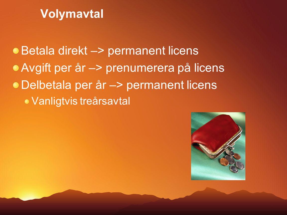 Volymavtal Betala direkt –> permanent licens Avgift per år –> prenumerera på licens Delbetala per år –> permanent licens Vanligtvis treårsavtal