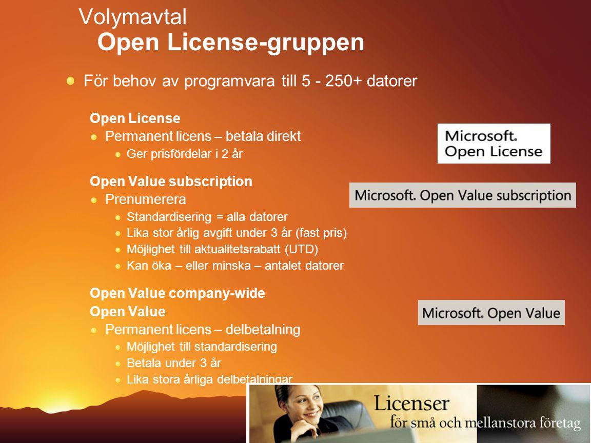 Volymavtal Open License-gruppen För behov av programvara till 5 - 250+ datorer Open License Permanent licens – betala direkt Ger prisfördelar i 2 år O