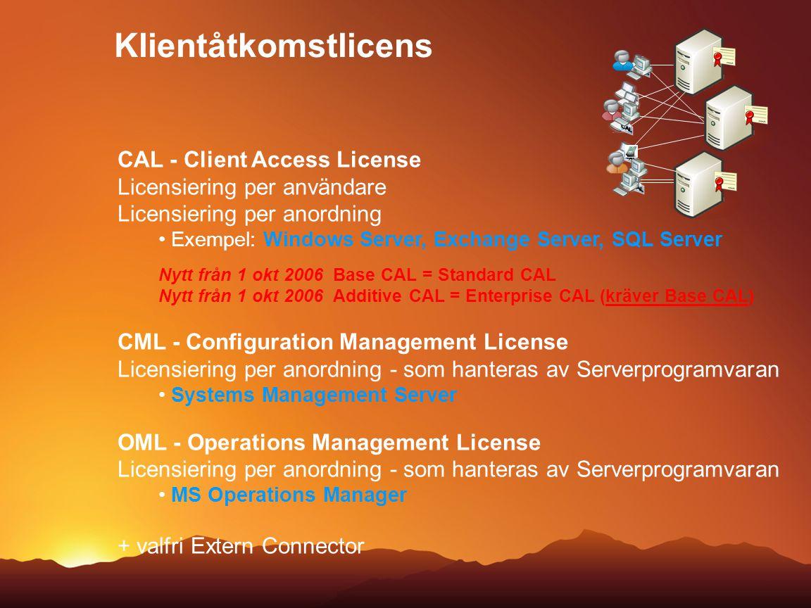Klientåtkomstlicens CAL - Client Access License Licensiering per användare Licensiering per anordning Exempel: Windows Server, Exchange Server, SQL Se