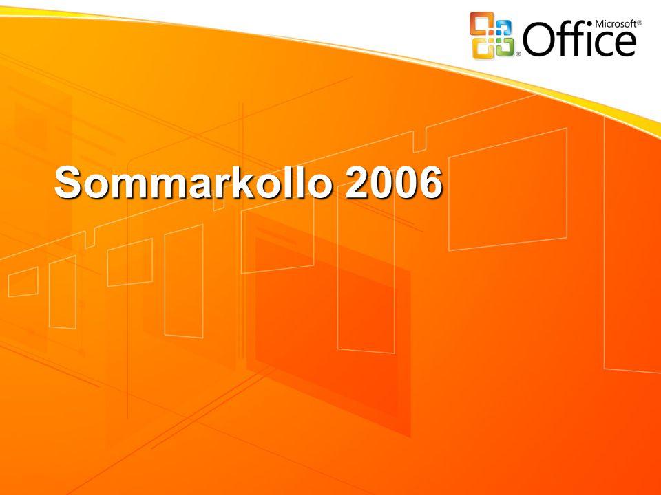Länkar och annat Presentationen från dagen kommer att läggas upp på www.microsoft.com/sverige/partner/education Ladda ner 2007 Microsoft Office System Beta 2 www.microsoft.com/office/preview