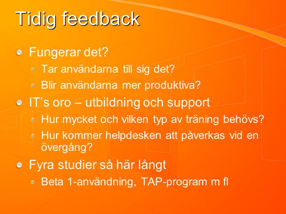 Tidig feedback Fungerar det. Tar användarna till sig det.