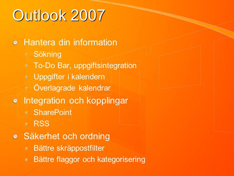 Outlook 2007 Hantera din information Sökning To-Do Bar, uppgiftsintegration Uppgifter i kalendern Överlagrade kalendrar Integration och kopplingar SharePoint RSS Säkerhet och ordning Bättre skräppostfilter Bättre flaggor och kategorisering