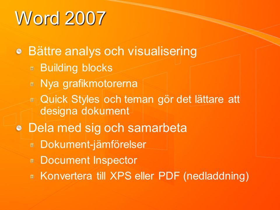 Word 2007 Bättre analys och visualisering Building blocks Nya grafikmotorerna Quick Styles och teman gör det lättare att designa dokument Dela med sig och samarbeta Dokument-jämförelser Document Inspector Konvertera till XPS eller PDF (nedladdning)