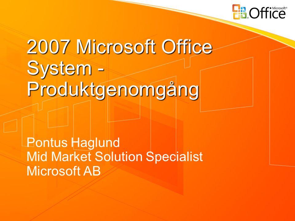 Mål med förmiddagen Få en förståelse över de gemensamma nyheterna i nya Microsoft Office Få en bild av förbättringar och nyheterna i Outlook 2007 Word 2007 Excel 2007 PowerPoint 2007 En introduktion till nästa version av Windows SharePoint Services