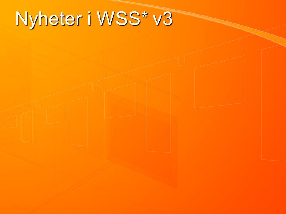 Nyheter i WSS* v3