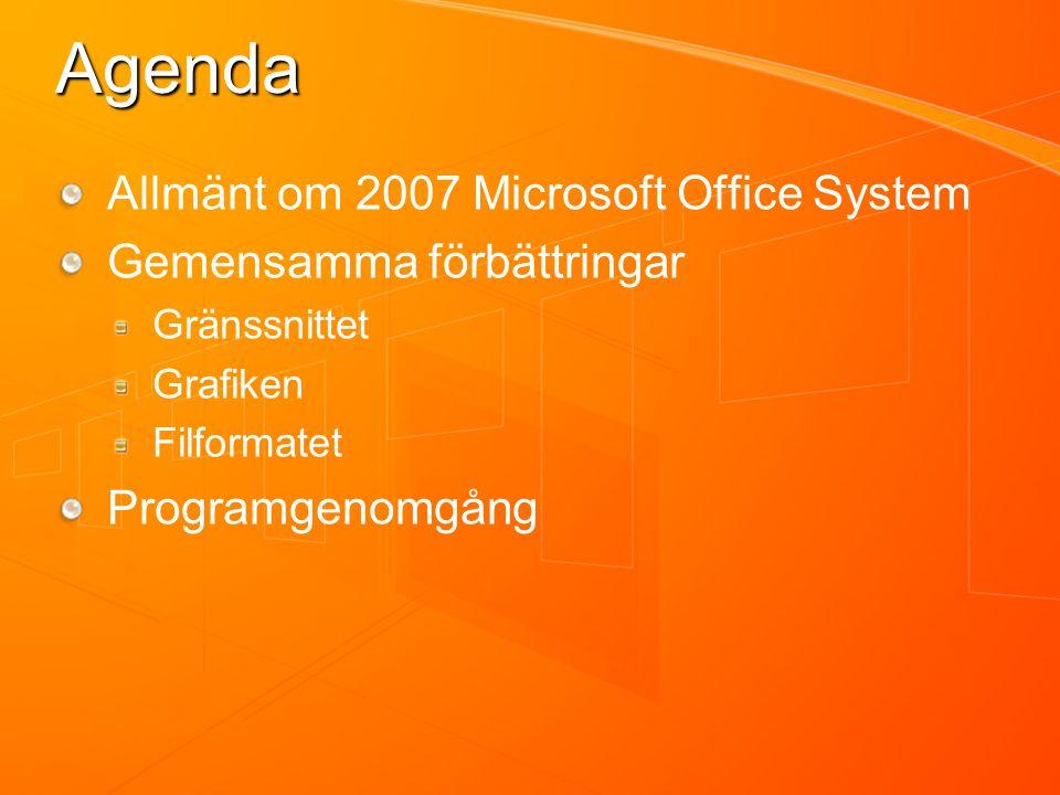 Agenda Allmänt om 2007 Microsoft Office System Gemensamma förbättringar Gränssnittet Grafiken Filformatet Programgenomgång