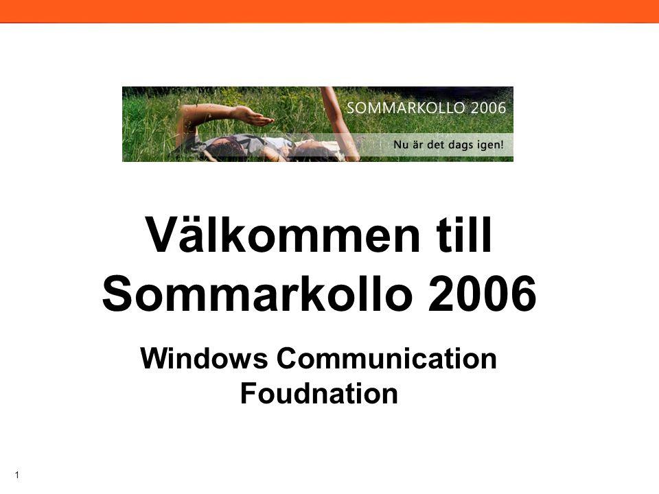 1 Välkommen till Sommarkollo 2006 Windows Communication Foudnation 2006