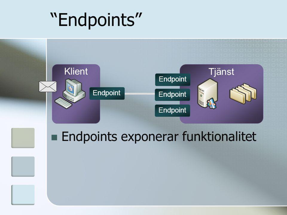 "Klient Tjänst ""Endpoints"" Endpoint Endpoints exponerar funktionalitet"