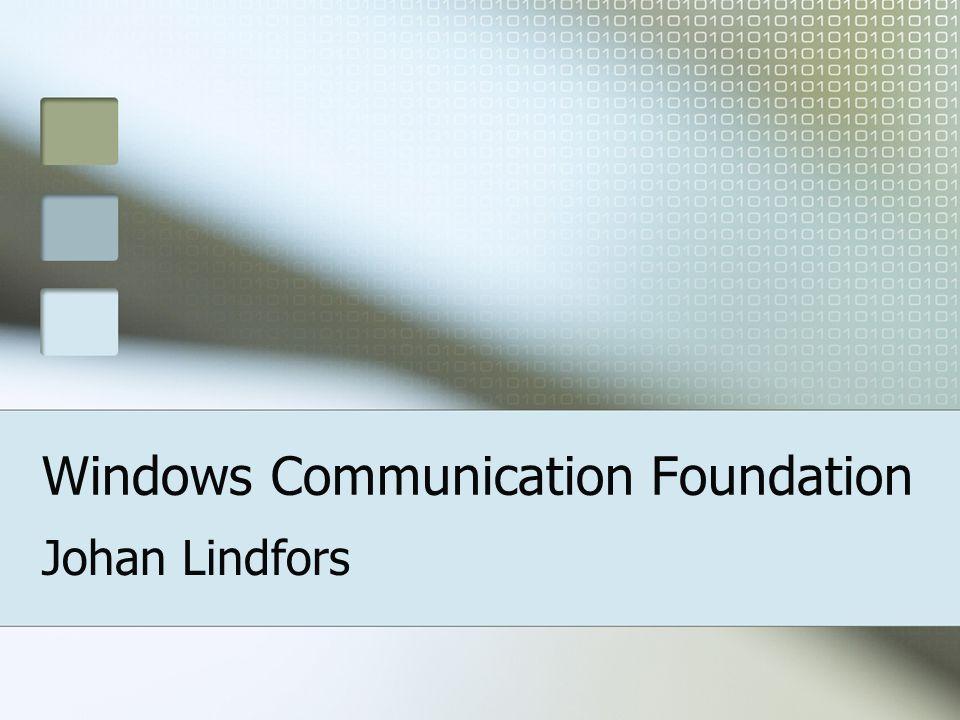 Bindningar: Anpassa <endpoint address= http://localhost/MathEndpoint binding= wsHttpBinding bindingConfiguration= MTOMOption contract= IMath />