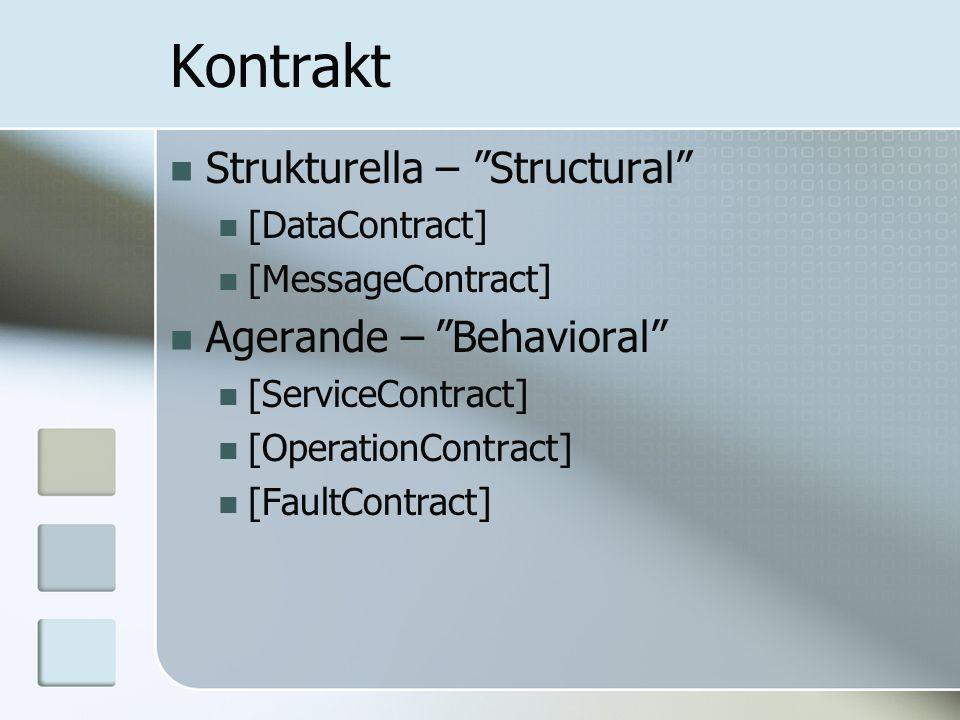 "Kontrakt Strukturella – ""Structural"" [DataContract] [MessageContract] Agerande – ""Behavioral"" [ServiceContract] [OperationContract] [FaultContract]"