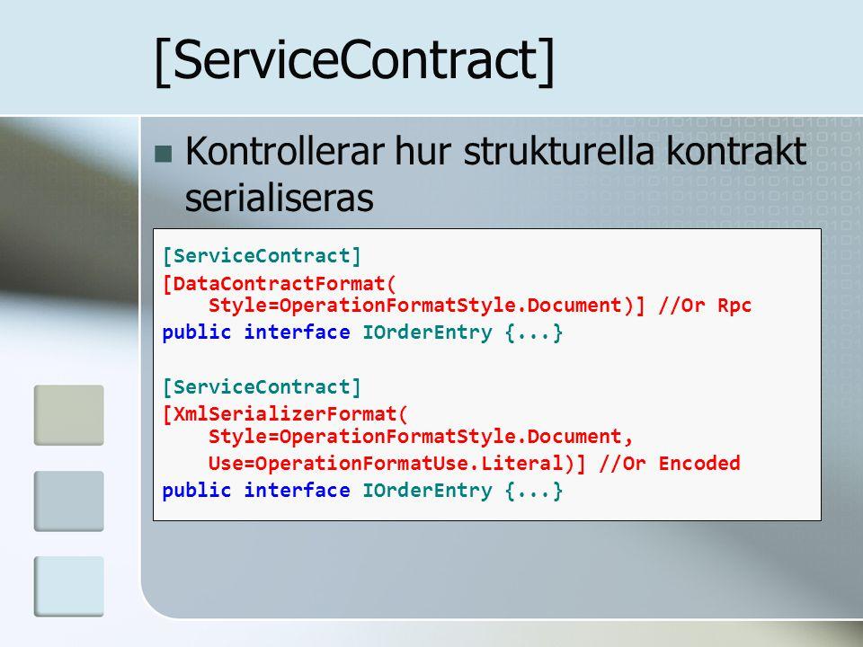 Kontrollerar hur strukturella kontrakt serialiseras [ServiceContract] [DataContractFormat( Style=OperationFormatStyle.Document)] //Or Rpc public inter