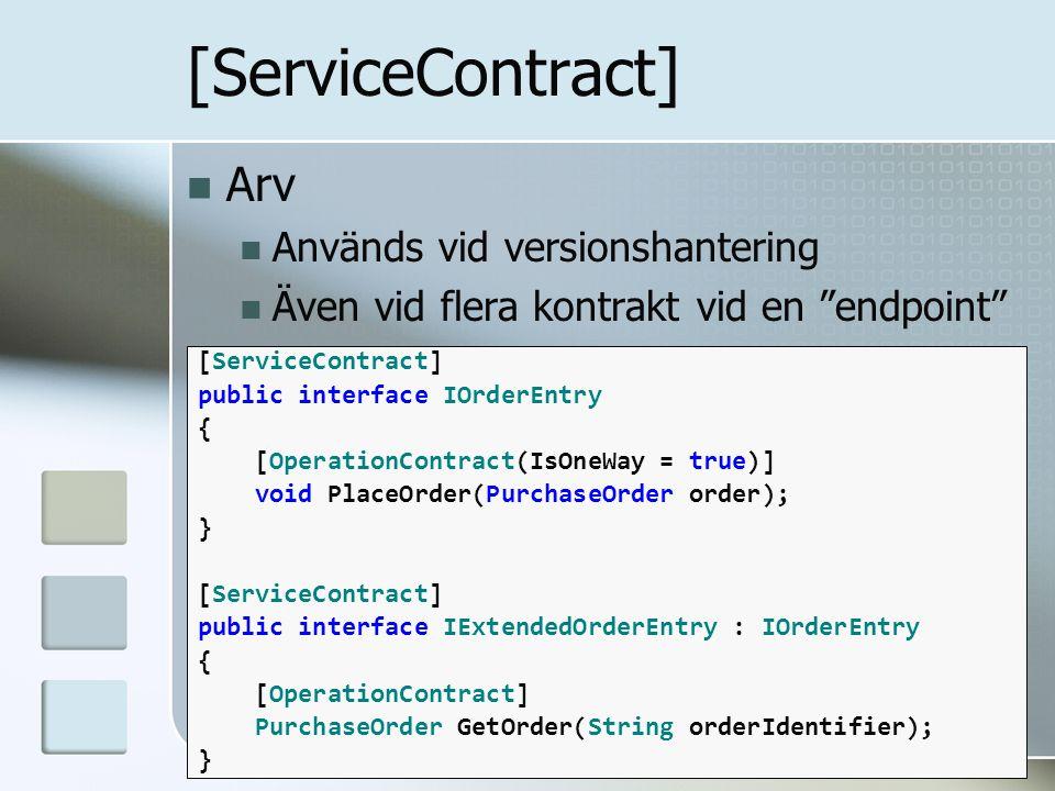 """Arv Används vid versionshantering Även vid flera kontrakt vid en """"endpoint"""" [ServiceContract] public interface IOrderEntry { [OperationContract(IsOneW"""