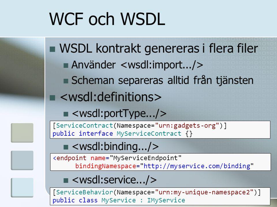 WCF och WSDL WSDL kontrakt genereras i flera filer Använder Scheman separeras alltid från tjänsten <endpoint name=