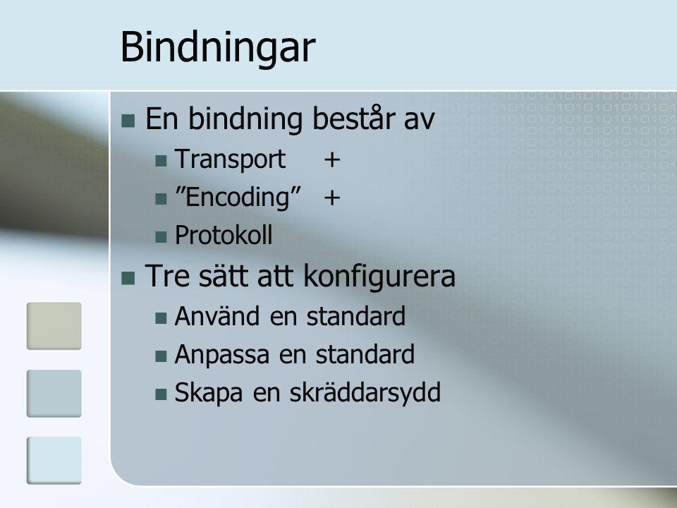 """Bindningar En bindning består av Transport + """"Encoding"""" + Protokoll Tre sätt att konfigurera Använd en standard Anpassa en standard Skapa en skräddars"""