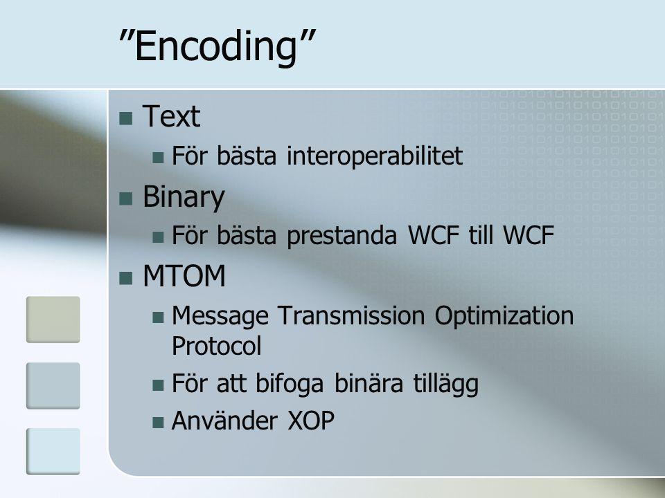 """""""Encoding"""" Text För bästa interoperabilitet Binary För bästa prestanda WCF till WCF MTOM Message Transmission Optimization Protocol För att bifoga bin"""