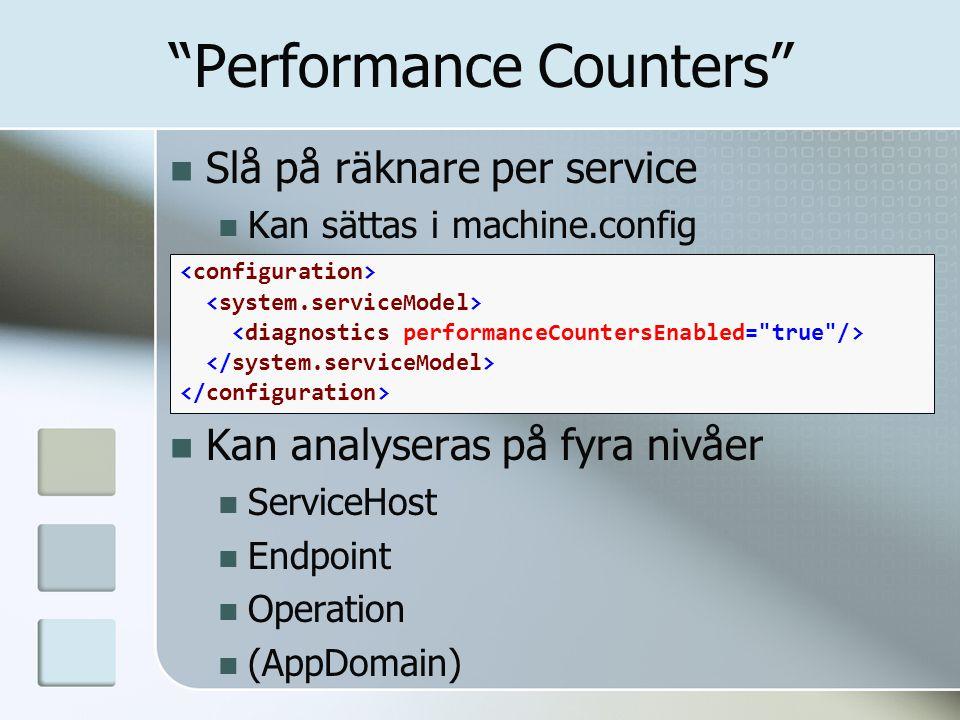 """Slå på räknare per service Kan sättas i machine.config Kan analyseras på fyra nivåer ServiceHost Endpoint Operation (AppDomain) """"Performance Counters"""""""