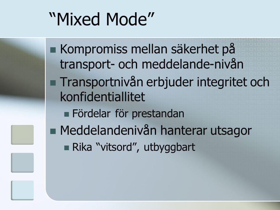 """""""Mixed Mode"""" Kompromiss mellan säkerhet på transport- och meddelande-nivån Transportnivån erbjuder integritet och konfidentiallitet Fördelar för prest"""