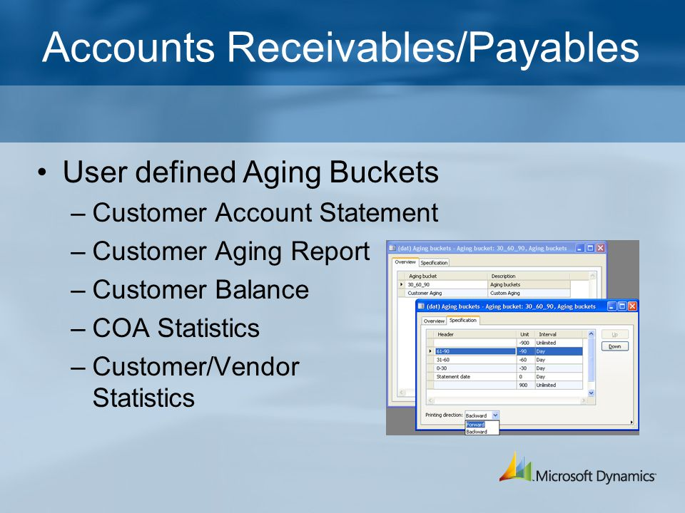 Accounts Receivables/Payables User defined Aging Buckets –Customer Account Statement –Customer Aging Report –Customer Balance –COA Statistics –Customer/Vendor Statistics
