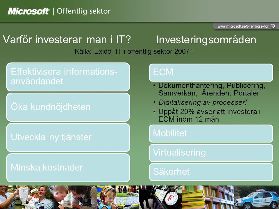www.microsoft.se/offentligsektor Varför investerar man i IT.