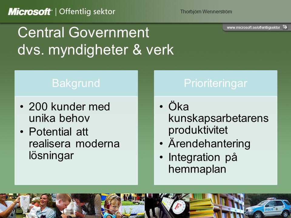 www.microsoft.se/offentligsektor Central Government dvs.