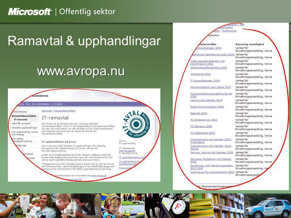 www.microsoft.se/offentligsektor Ramavtal & upphandlingar www.avropa.nu