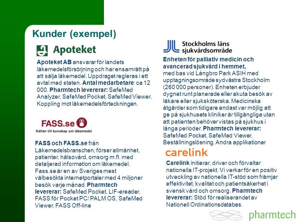 Kunder (exempel) Apoteket AB ansvarar för landets läkemedelsförsörjning och har ensamrätt på att sälja läkemedel.