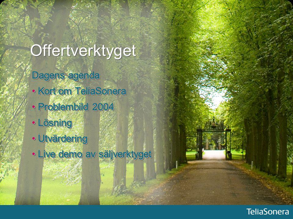 Offertverktyget Dagens agenda Kort om TeliaSonera Kort om TeliaSonera Problembild 2004 Problembild 2004 Lösning Lösning Utvärdering Utvärdering Live d