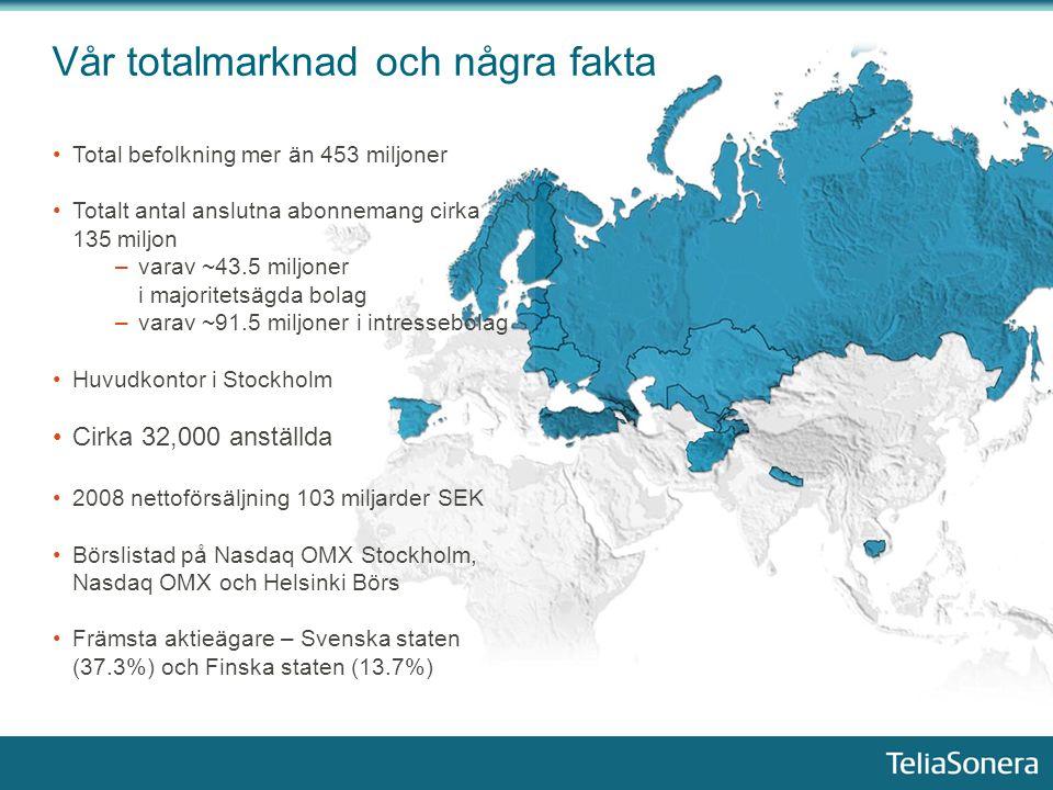 CEO, TeliaSonera – Lars Nyberg Fokusområden World class service company Migrering från traditionella fastnäts tjänster Ny B2B försäljningsansats Tillväxt i Eurasia Kostnadseffektivitet Kvalitet i nätverk