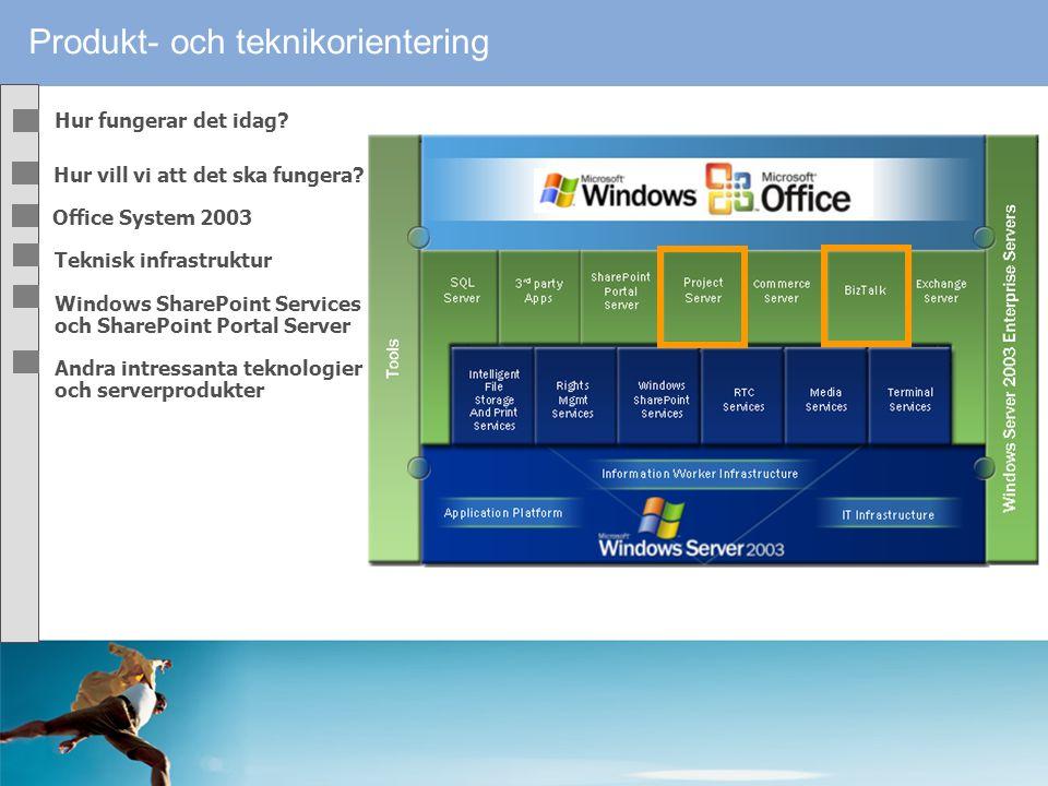 """Produkt- och teknikorientering Nya Microsoft Office System 2003 """"En omfattande vidare-/nyutveckling av Office produkterna med betoning på inbyggda sam"""