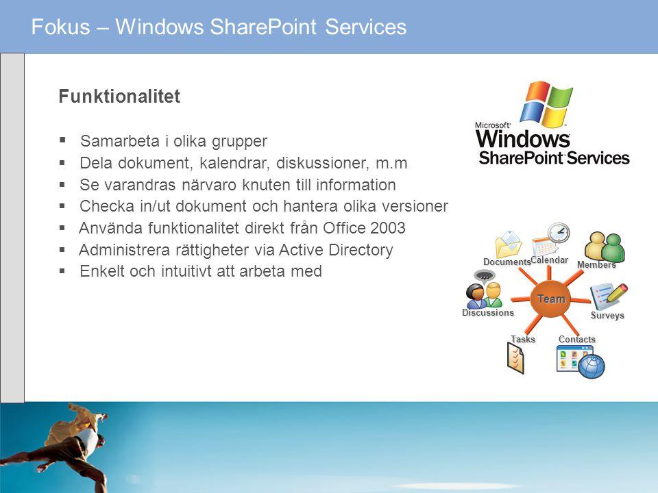 Fokus – Windows SharePoint Services Funktionalitet  Samarbeta i olika grupper  Dela dokument, kalendrar, diskussioner, m.m  Se varandras närvaro kn