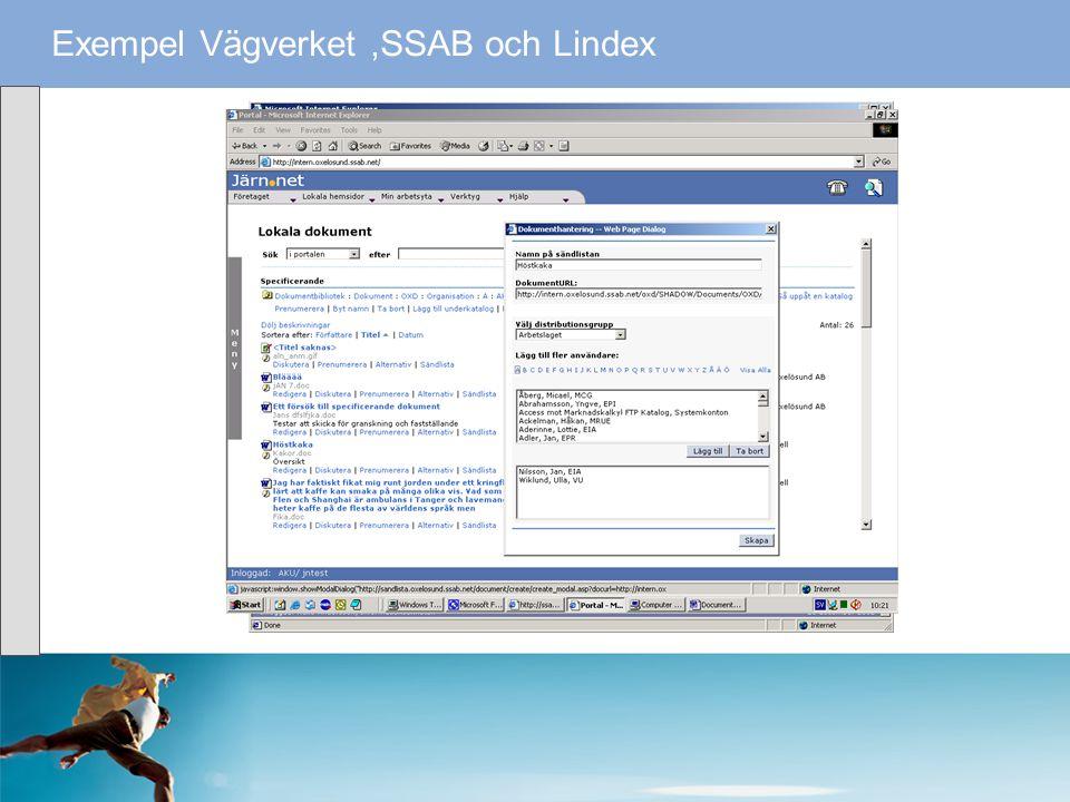 Exempel Vägverket,SSAB och Lindex