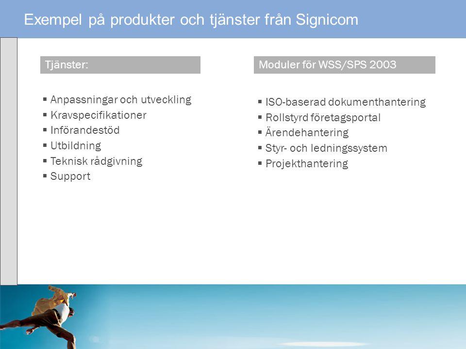 Tjänster:Moduler för WSS/SPS 2003 Exempel på produkter och tjänster från Signicom  Anpassningar och utveckling  Kravspecifikationer  Införandestöd
