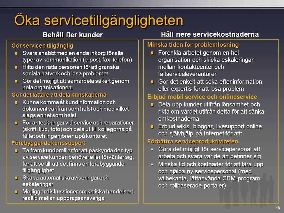 18 Gör servicen tillgänglig Svara snabbt med en enda inkorg för alla typer av kommunikation (e-post, fax, telefon) Hitta den rätta personen för att gr